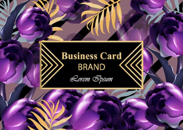 Cartão de luxo com flores de tulipas roxas vector. ilustração bonita para livro de marca, cartão de visita ou cartaz. fundo rosa. lugar para textos