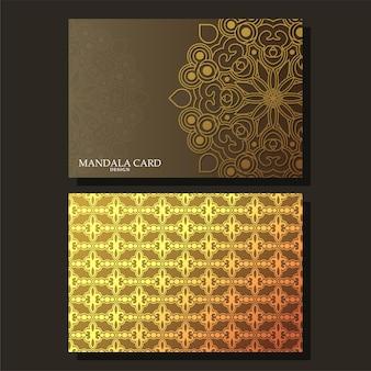 Cartão de mandala de luxo com fundo escuro