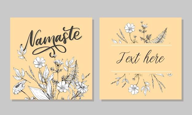 Cartão de mão desenhada namastê. olá em hindi. ilustração de tinta. mão desenhada letras de fundo. isolado no fundo branco citação positiva. caligrafia de escova moderna.