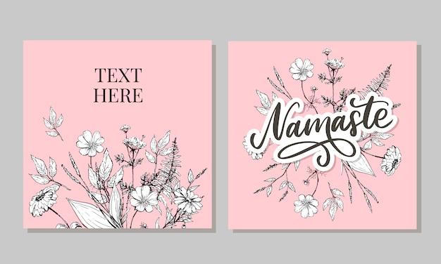 Cartão de mão desenhada namastê. olá em hindi. ilustração de tinta. mão desenhada letras de fundo. sobre fundo branco. citação positiva. caligrafia de escova moderna.