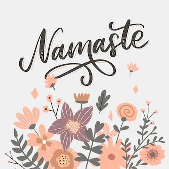 Cartão de mão desenhada namastê. olá em hindi. ilustração de tinta. mão desenhada letras de fundo. sobre fundo branco. citação positiva. caligrafia de escova moderna. Vetor Premium