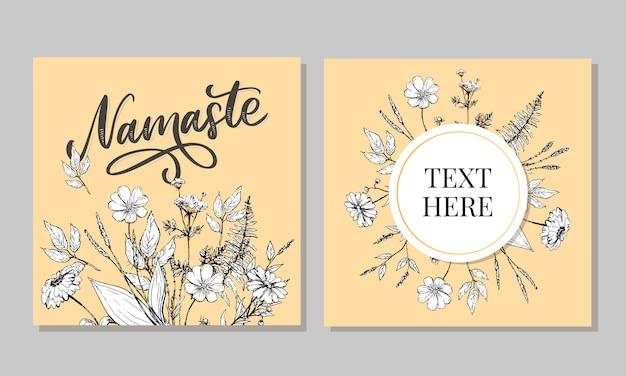 Cartão de mão desenhada namastê. olá em hindi. ilustração de tinta. mão desenhada letras slogan positivo.