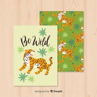 Cartão de mão desenhada tigre selvagem na natureza