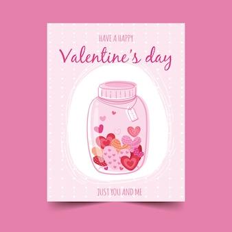 Cartão de mão desenhada valetine heart bottle