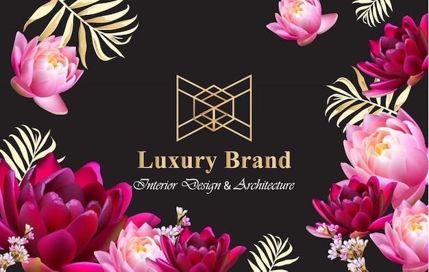 Cartão de marca de luxo com vetor de flores realista. composição abstrata designs modernos fundos