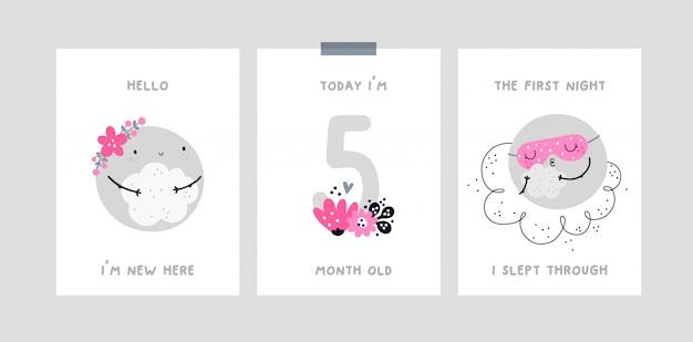Cartão de marco bebê com lua bonito dos desenhos animados. cartão de aniversário do mês de bebê. chá de bebê