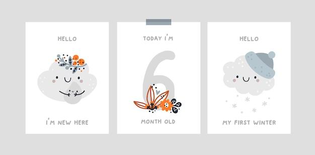 Cartão de marco de bebê com nuvem fofa para menino ou menina recém-nascida. capturando todos os momentos especiais.