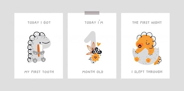 Cartão de marco do bebê com dinossauro fofo. cartão de aniversário do mês de bebê. chá de bebê