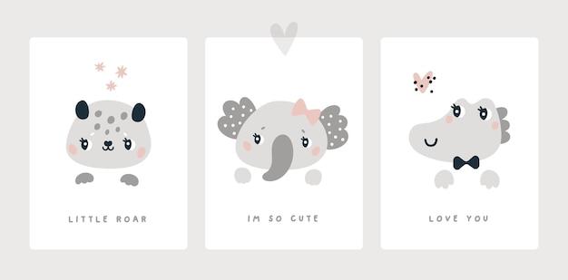 Cartão de marco para animais recém-nascidos do chá de bebê do menino ou da menina impressão leopardo elefante crocodilo