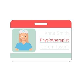 Cartão de médico especialista em fisioterapeuta
