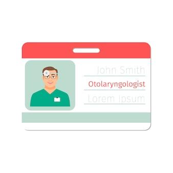Cartão de médico especialista em otorrinolaringologista
