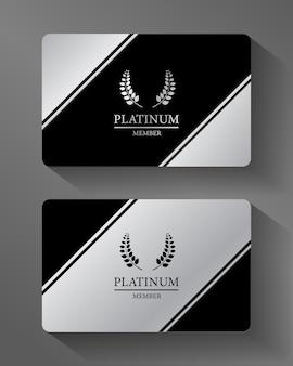 Cartão de membro vector platinum platina e preto