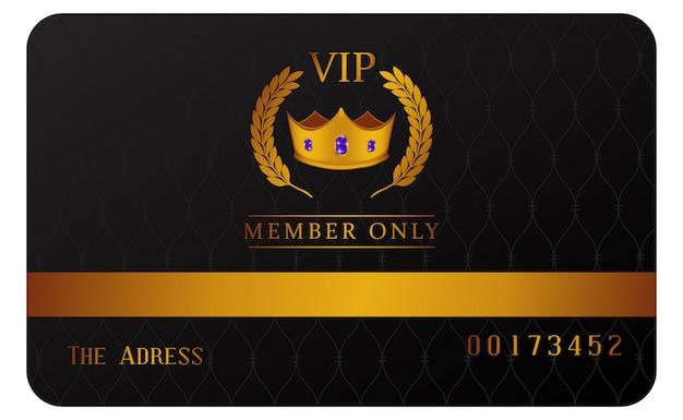 Cartão de membro vip de luxo com coroa dourada