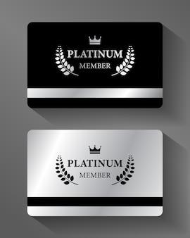 Cartão de membro vip platinum vector platina e preto