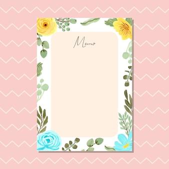 Cartão de memo com quadro floral azul amarelo