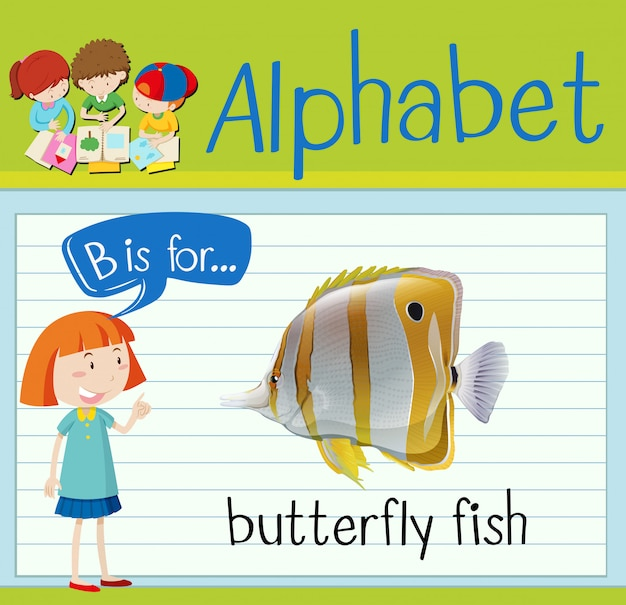 Cartão de memória letra b é para peixe borboleta