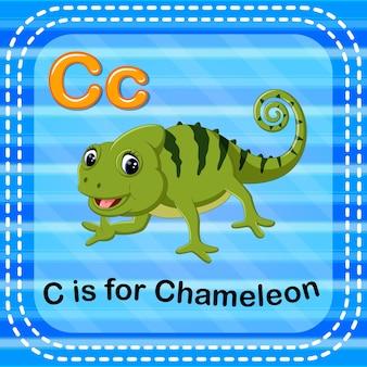 Cartão de memória letra c é para camaleão