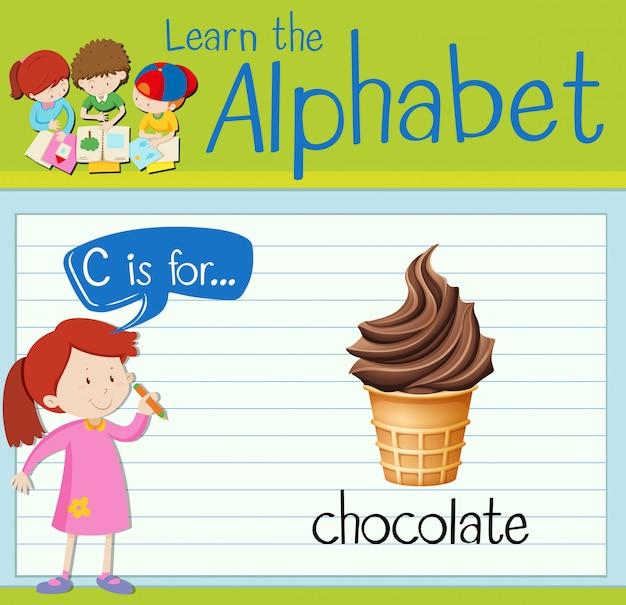 Cartão de memória letra c é para chocolate