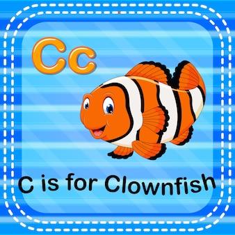 Cartão de memória letra c é para peixe-palhaço