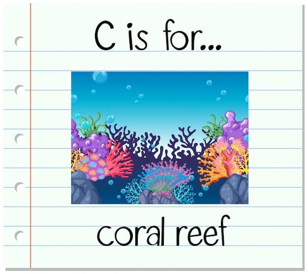 Cartão de memória letra c é para recife de coral