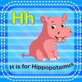 Cartão de memória letra h é para hipopótamo
