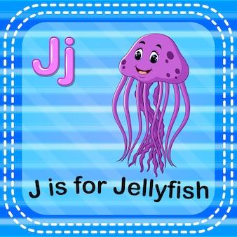 Cartão de memória letra j é para água-viva