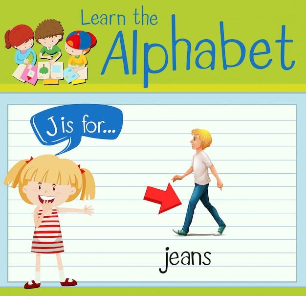 Cartão de memória letra j é para jeans