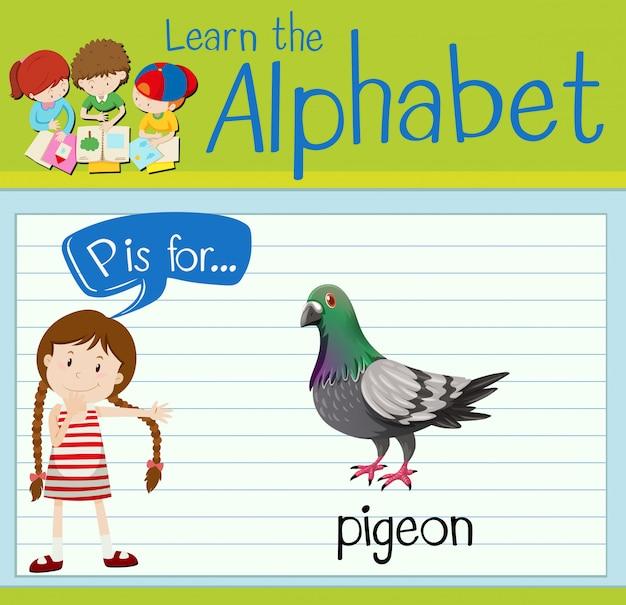 Cartão de memória letra p é para pombo