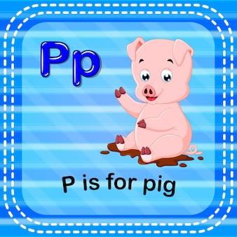 Cartão de memória letra p é para porco