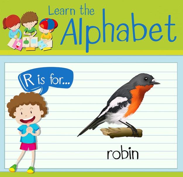 Cartão de memória letra r é para robin