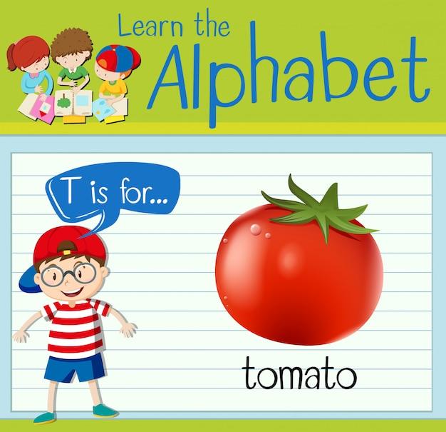 Cartão de memória letra t é para tomate