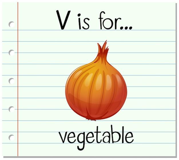 Cartão de memória letra v é para vegetais