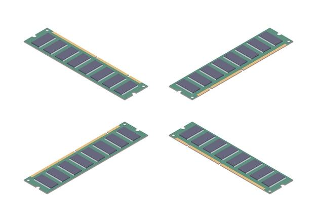 Cartão de memória ram plana isométrica