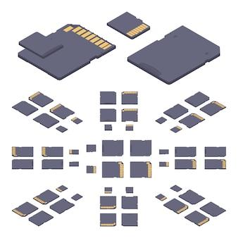 Cartão de memória sd plana isométrica
