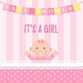 Cartão de menina bebê chuveiro.