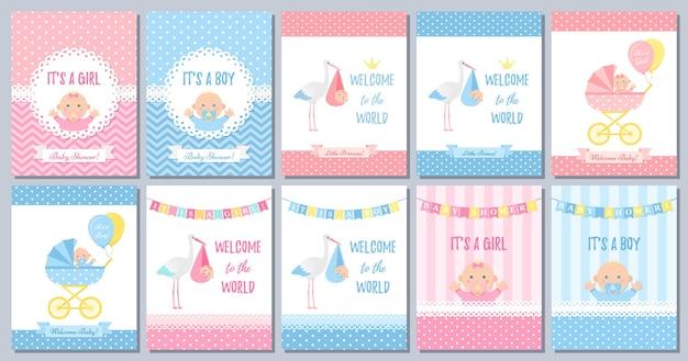 Cartão de menina menino chuveiro de bebê.