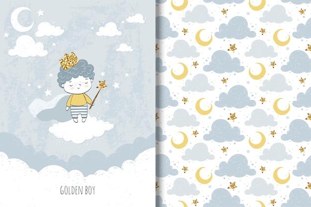 Cartão de menino e padrão sem costura para crianças