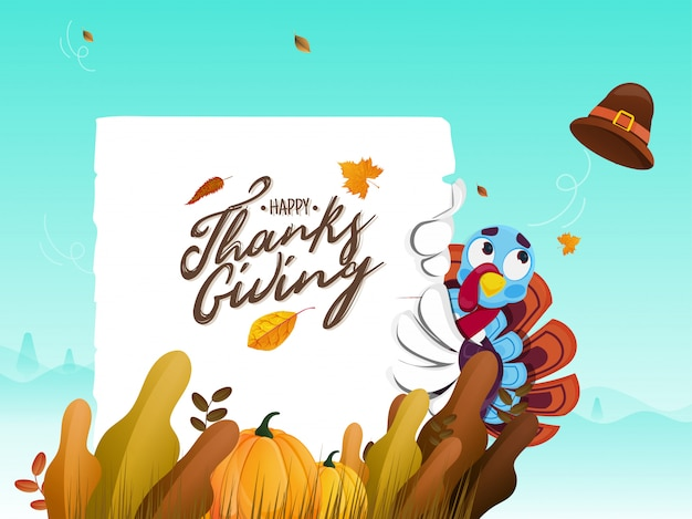 Cartão de mensagem de ação de graças feliz com peru, abóbora e folhas de outono em azul para celebração