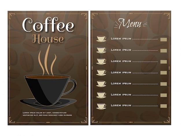 Cartão de menu da casa do café