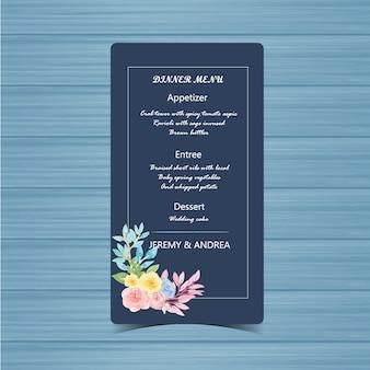 Cartão de menu de casamento com lindas flores buquê