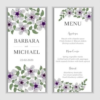 Cartão de menu de casamento floral com buquê de flor de cerejeira
