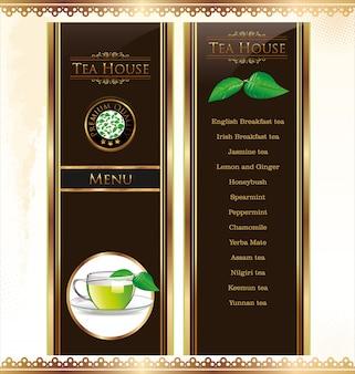 Cartão de menu de chá