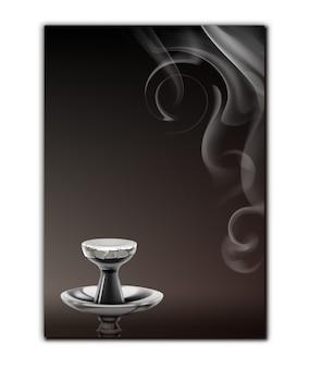 Cartão de menu de shisha de vetor com haste de narguilé, tigela de cerâmica e vista superior do vapor isolado no fundo branco