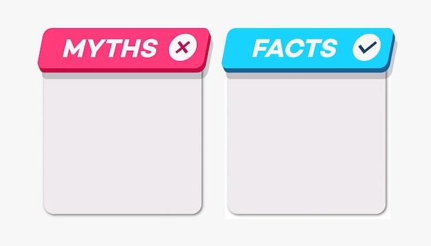 Cartão de mitos vs fatos estilo d isolado no fundo branco verificação de fatos ou fácil comparação de evidências