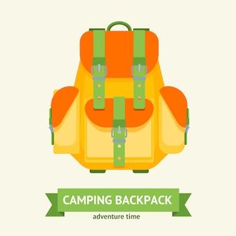 Cartão de mochila de acampamento turístico com fita para texto. bolsa de caminhada