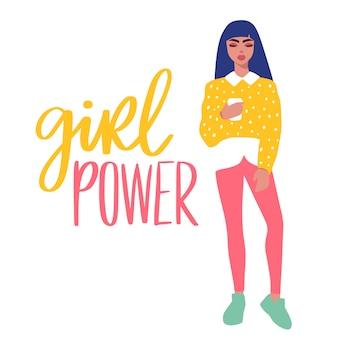 Cartão de moda mulher em estilo simples dos desenhos animados. menina elegante em roupas da moda