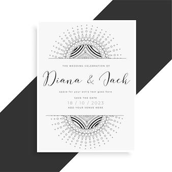 Cartão de modelo de casamento estilo mandala para convite