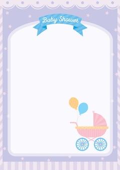 Cartão de modelo de chuveiro de bebê decorado com carrinho de bebê