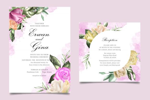 Cartão de modelo de convite de casamento com aquarela floral e folhas
