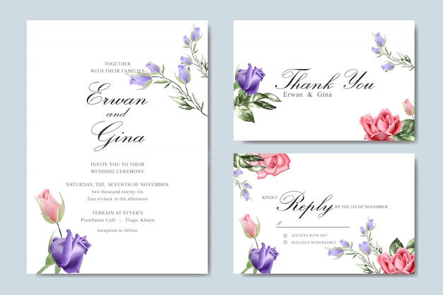 Cartão de modelo de convite de casamento com aquarela floral